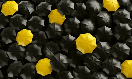 cgi: 3d rendering of umbrellas seen from the top Stock Photo