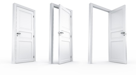 doorframe: 3d rendering of a door in 3 stages all shot from the same camera position