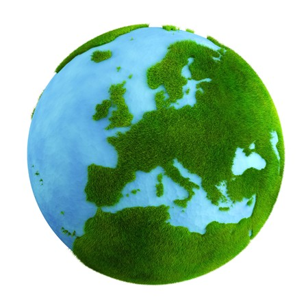 europe closeup: 3d rendering of a grass earth with water - Europe closeup