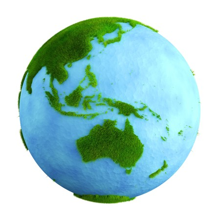 3d rendering of a grass earth with water - Western Central Pacific Stock Photo - 4286662