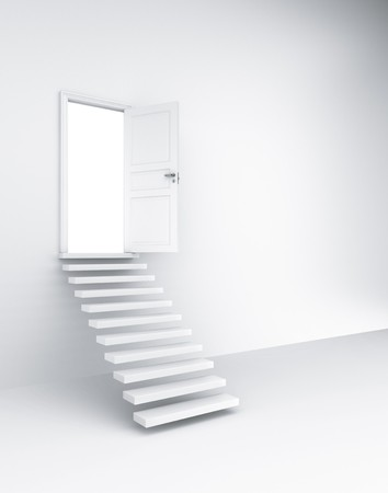3d rendering of an open door with stairs photo