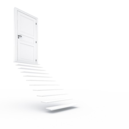 doorframe: 3d rendering of a closed door with stairs Stock Photo