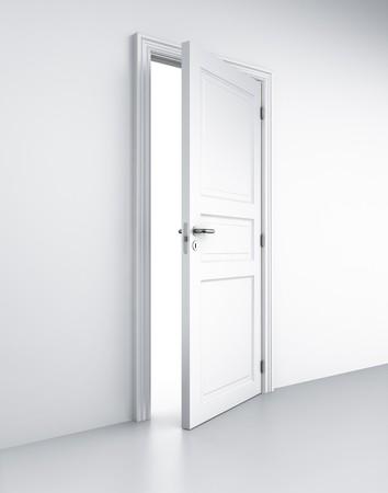 door handle: 3d rendering of a door in a white room