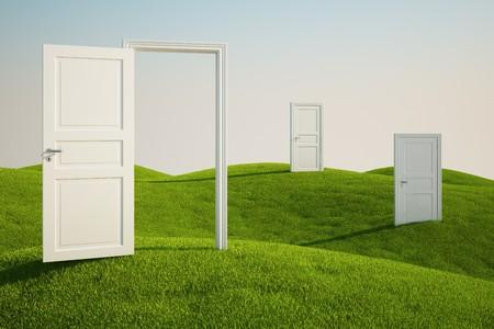 abrir puertas: 3D de un campo de hierba, con tres puertas