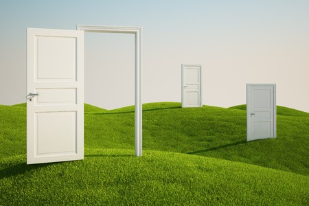 open doors: 3D rendering of a grass field with three doors Stock Photo
