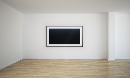 switched: 3d rendering of an empty room with a blank painting on the wall, which can easily be switched out with your own image.