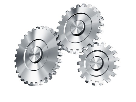3d rendering of 3 cog wheels Stock Photo - 4539995