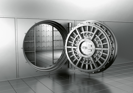 3d rendering of an open bank vault photo