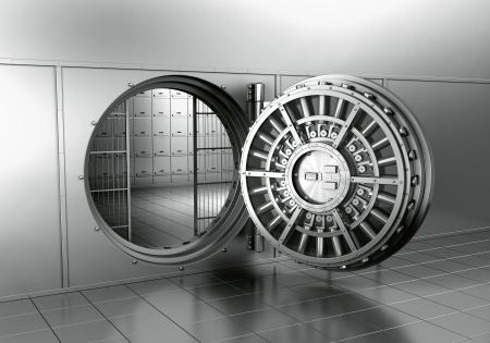 bank safe: 3d rendering of an open bank vault Stock Photo