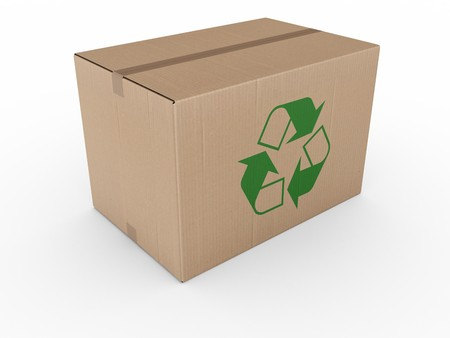 shipped: 3d rendering of a cardboard box with a recycling logo.