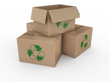 logo reciclaje: 3d prestaci�n de un cajas de cart�n reciclado con un logotipo.