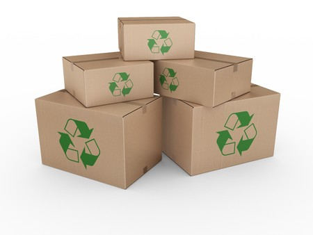 shipped: 3d rendering of a cardboard boxes with a recycling logo. Stock Photo