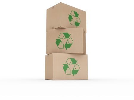 logo reciclaje: 3d prestaci�n de un cajas de cart�n apiladas con un logo de reciclaje. Foto de archivo