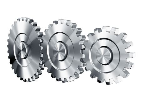 3d rendering of 3 cog wheels Stock Photo - 4659973