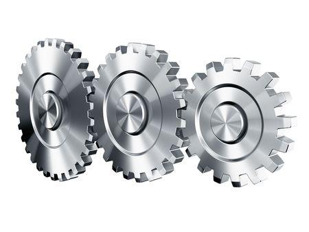 3d rendering of 3 cog wheels Stock Photo - 4659973