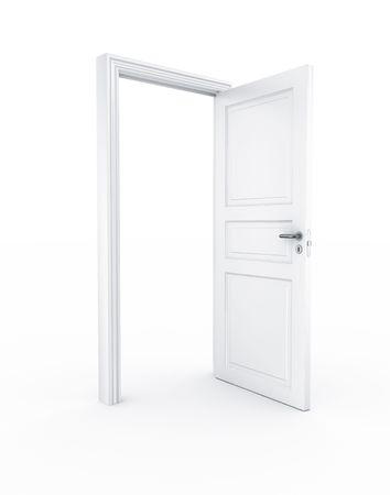 3D rendering di una porta libera in piedi su un pavimento bianco Archivio Fotografico