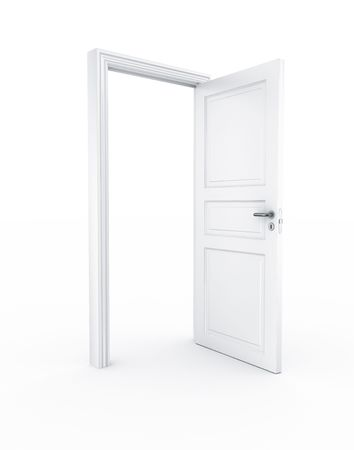 doors open: 3d rendering of a door standing free on a white floor
