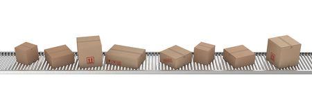 packaging move: 3d rendering of Cardboard boxes on a conveyor belt