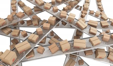 cinta transportadora: 3d prestaci�n de cajas de cart�n en un caos de cintas transportadoras