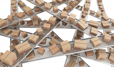 conveyor belts: 3d rendering of Cardboard boxes on a chaos of conveyor belts