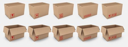 3d rendering of open and closed cardboard boxes with different warning labels photo