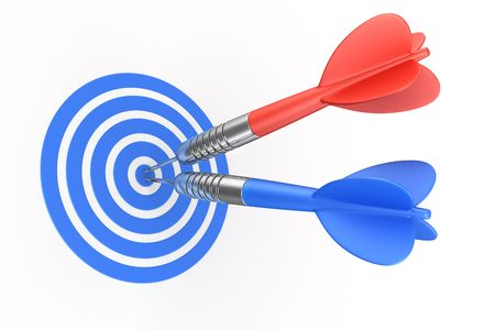 3d rendering of darts hitting the target Stock Photo - 4659970