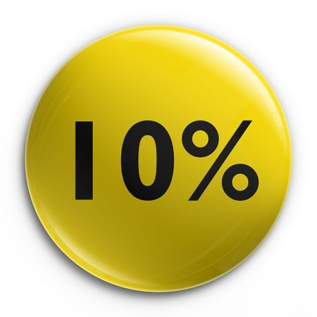 3d rendering of a badge with 10 percent off photo
