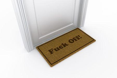 welcome mat: 3d rendering of a door with a fuck off doormat
