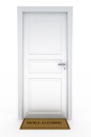 doorstep: 3d rendering of a door with welcome doormat Stock Photo
