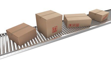 conveyor belt: 3d rendering of Cardboard boxes on a conveyor belt
