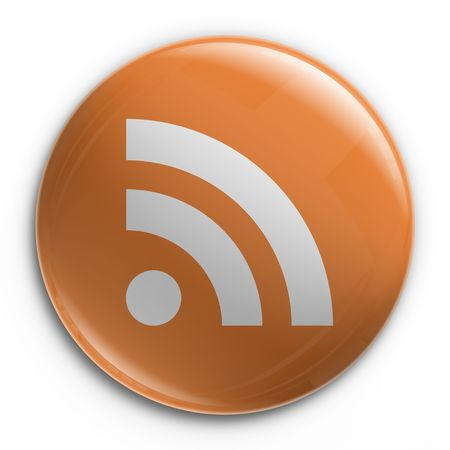 3d rendering of a badge with a RSS logo photo