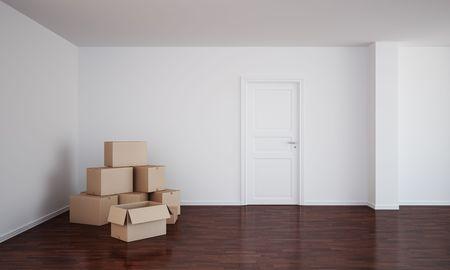 treated board: 3d rendering of an empty room  with dark wood floor, cardboard boxes and an open door Stock Photo