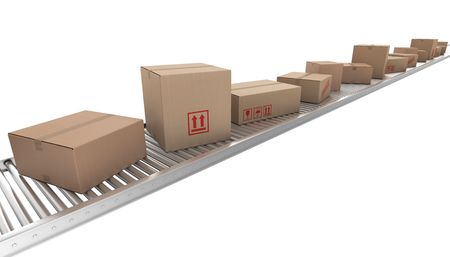 shipped: 3d rendering of Cardboard boxes on a conveyor belt
