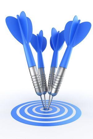 3d rendering of darts hitting the target