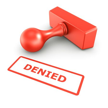 denied: 3d rendering of a rubber stamp with DENIED in red ink Stock Photo