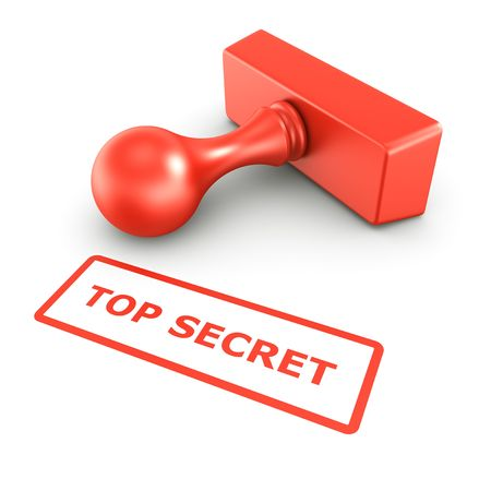 3d rendering of a rubber stamp with TOP SECRET in red ink photo