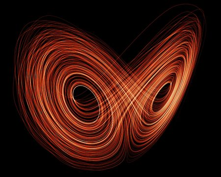 3d rendering of a Lorenz Attractor fractal in orange on black background Stock Photo - 4829551
