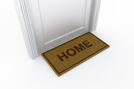 3d rendering of a door with a doormat written home on it photo