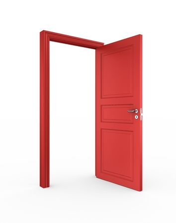 handles: 3d rendering of a red open door standing on a white floor