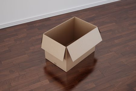 treated board: 3d rendering of a cardboard box in a empty room with dark wood floor