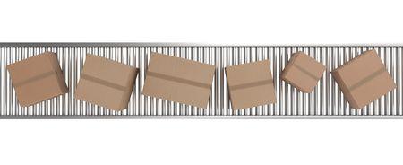 conveyor: 3d rendering of Cardboard boxes on a conveyor belt