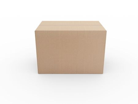 shipped: 3d rendering of a closed cardboard box Stock Photo