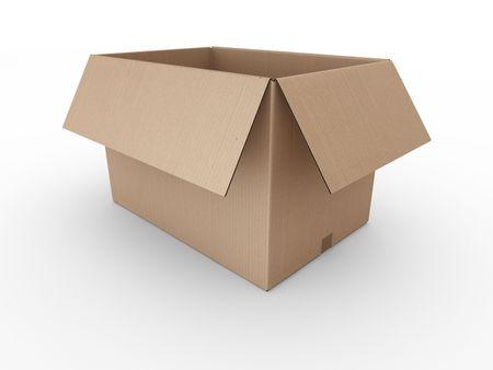 boite carton: Rendu 3D d'une bo�te en carton ouvert Banque d'images