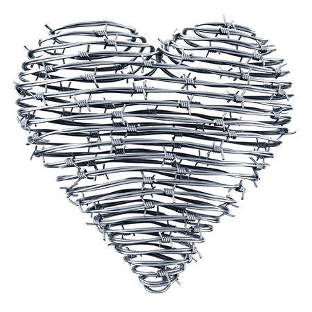 barbed wires: 3D de un coraz�n hecho de alambres de p�as