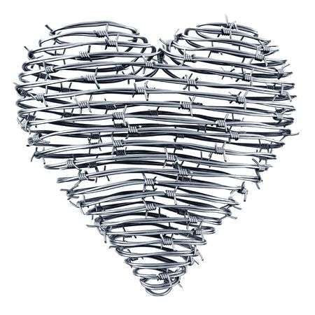 3D rendering of a heart made out of barbed wires Stock Photo - 4855672