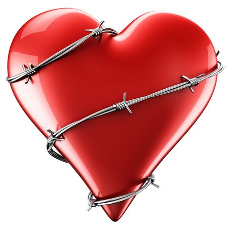 Rendering 3D di un cuore con il filo spinato intorno ad esso. Archivio Fotografico