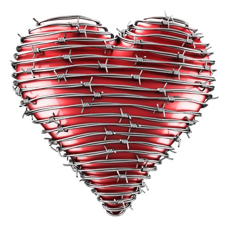 barb wire isolated: 3D rendering of a heart with barbed wire around it. Stock Photo
