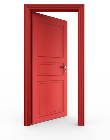 open doors: 3d rendering of a red open door standing on a white floor