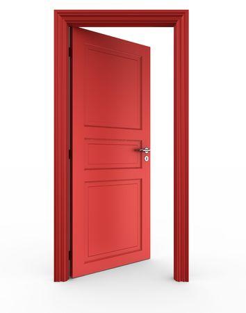 porta aperta: Rendering 3D di un rosso porta aperta su un pavimento bianco Archivio Fotografico