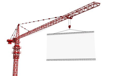 construction frame: 3d rendering of a tower crane with an empty sign